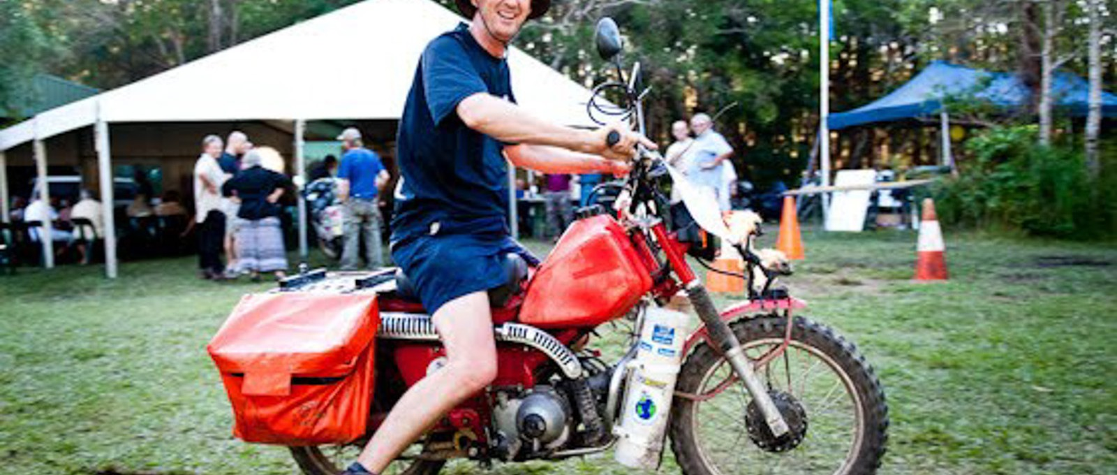 Glen on his postie, HU2010 Meeting, Australia