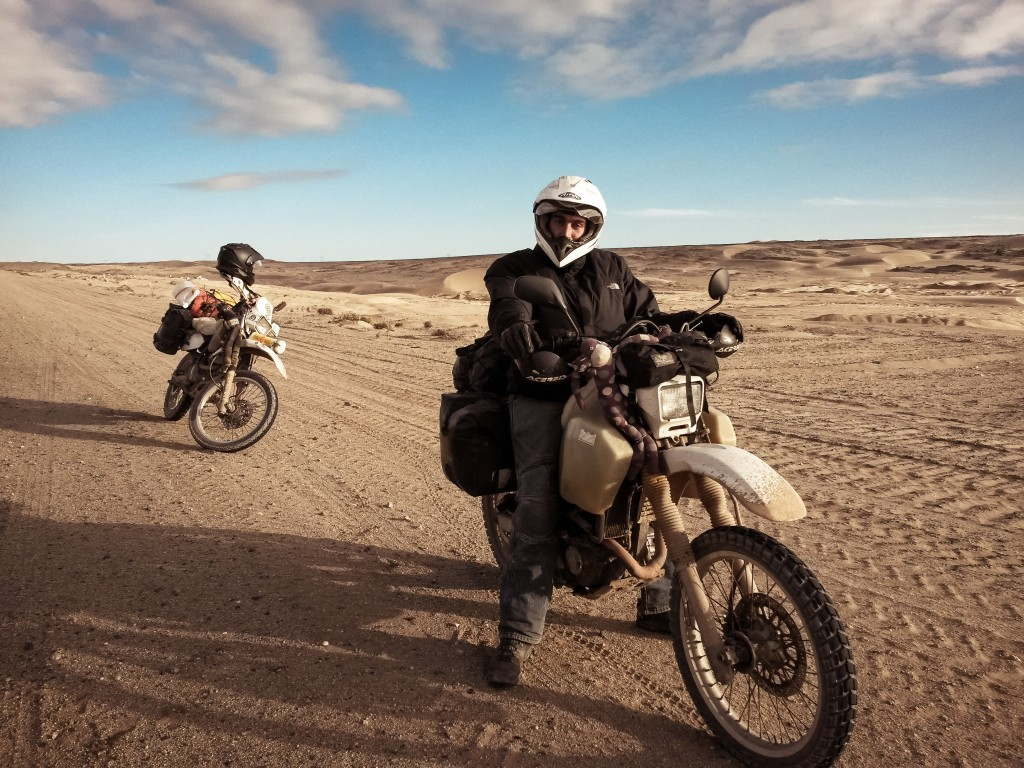 Mike and his Suzuki DR350, Namibia